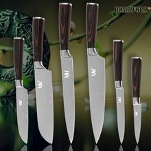 XYJ Kitchen knives chef slicing santoku utility pariing damascus veins stainless steel knives color wood handle cooking tools