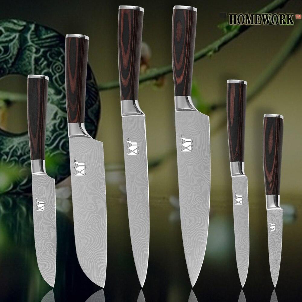 XYJ cuchillos de cocina santoku utilidad pariing venas de Damasco cuchillos de acero inoxidable color madera manejar herramientas de cocina