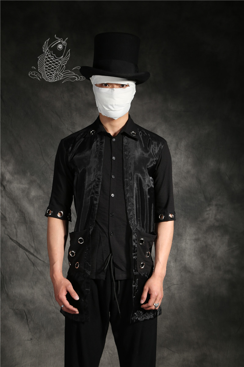 Gd Deux Mode Rue Hommes Noir Costumes Chemise Vêtements 2018 Taille Styliste D'été Personnalité Cheveux De La Plus Nouveau Faux Pièces q7xRY