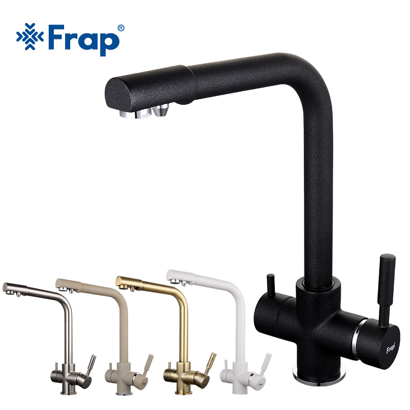 Frap New Black Kitchen sink Faucet mixer Seven Letter Design 360 Degree Rotation Water Purification tap Dual Handle F4352 series frap new white black flexible kitchen sink faucet brass 360 degree rotation torneira cozinha water tap mixer kitchen goods f4042