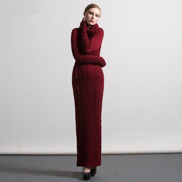 Autumn Winter Dress 2017 New Women Long sleeve Turtleneck Bodycon Slim Maxi  Long Sweater Dresses Plus size S- 4XL