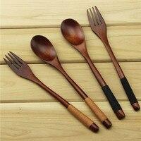 10sets dinnerware Eco Friendly Japanese Reusable Handmade Natural Wood Dinner Salad tableware Pasta Fork set