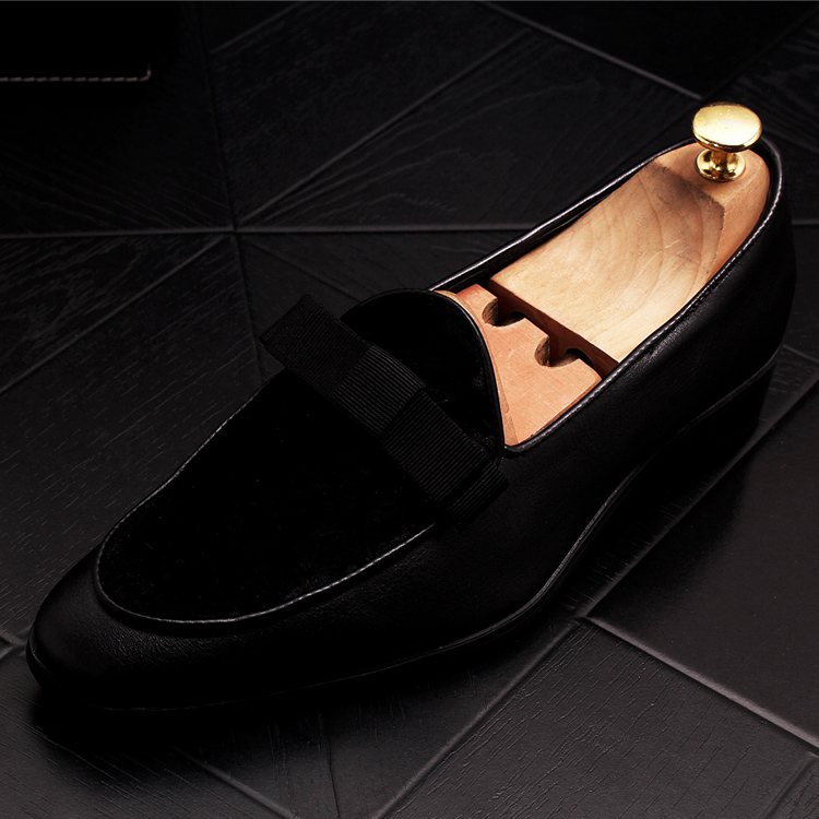 2019 Men Brand Dress Loafers Shoes Bow Tie Slippers Gentlemen Wedding Flats Casual Slip on Black+Red Suede Flats Shoes 22