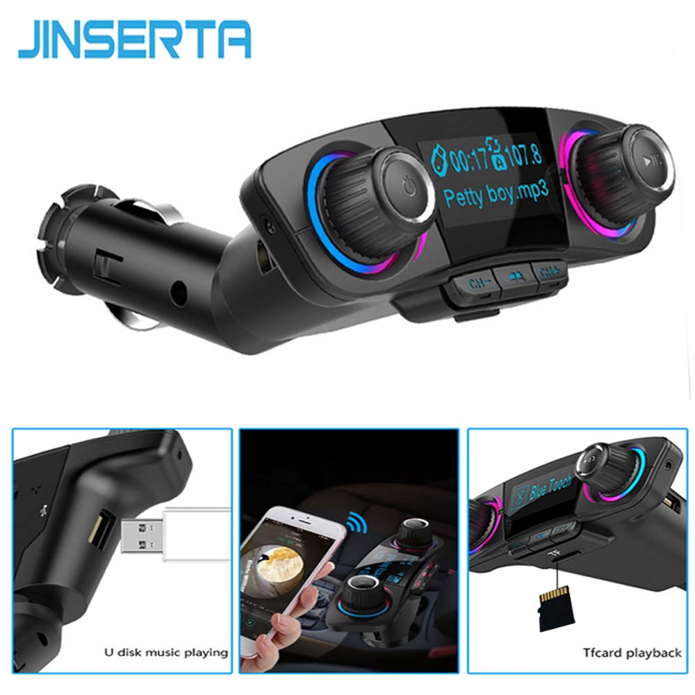 JINSERTA Car MP3 Player FM Transmitter Aux Modulator Bluetooth Handsfree Car Audio Kit with Smart Charge Dual USB Car Charger korseed bluetooth kit dual usb lcd aux car mp3 player fm transmitter modulator qc3 0 quick charger wireless handsfree carkit