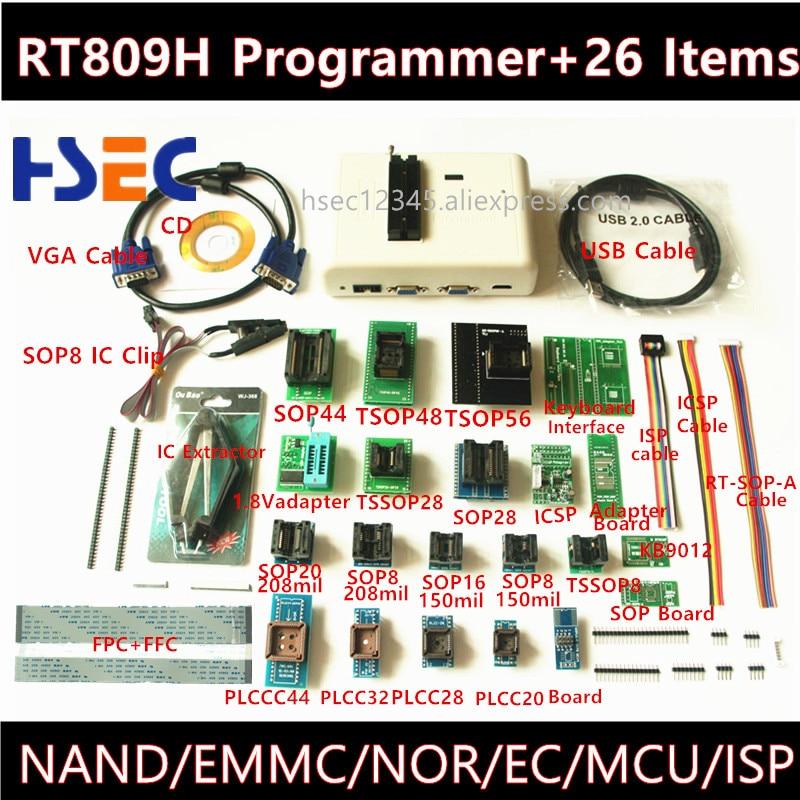 Newest Universal RT809H EMMC-Nand FLASH Programmer+26 ItemsTSOP56 TSOP48 Adapter EMMC-NAND NOR Better Than RT809F TL866CS TL866A