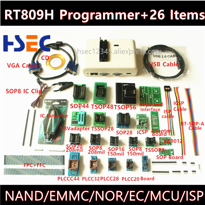 Newest Universal RT809H EMMC Nand FLASH Programmer+26 ItemsTSOP56 TSOP48 Adapter EMMC NAND NOR better than RT809F TL866CS TL866A-in Integrated Circuits from Electronic Components & Supplies