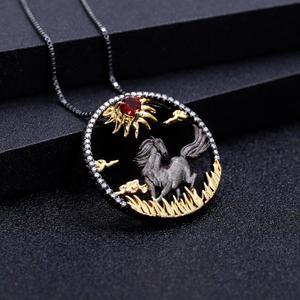 Image 3 - Gems Ba Lê Bạc 925 Đỏ Tự Nhiên Viên Đá Garnet Ngọc Hồng Handmade Mặt Trời & Ngựa Dây Chuyền Nữ Cung Hoàng Đạo Trang Sức