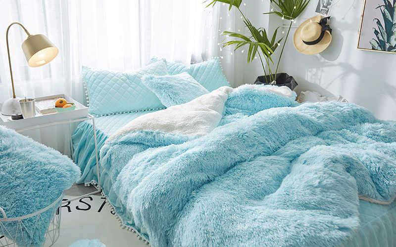 Blau Rosa Grau Weiß Lila Nerz Samt Mädchen Bettwäsche Set Weiche Berber Fleece Duvet Abdeckung Dicken Bettlaken Bett Rock kissenbezüge