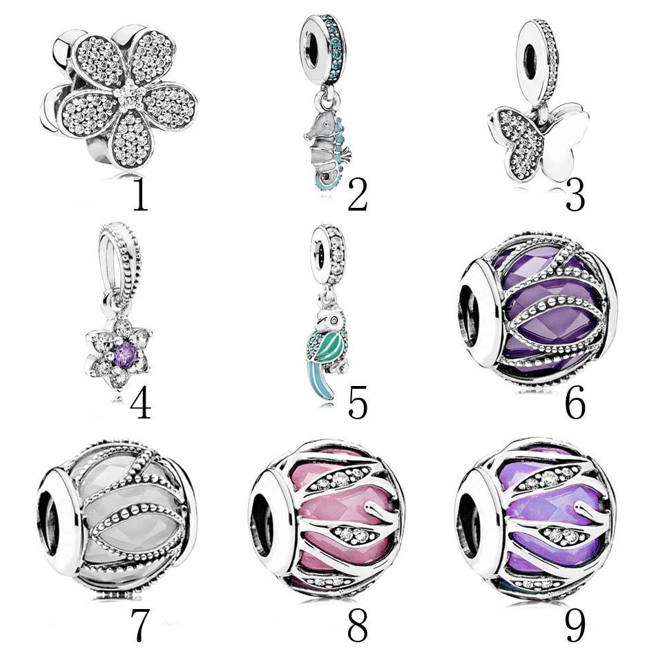 925 Silver Nature Beads Fit Pandora Bracelet Bangle Natures Radiance Charm Tropical Seahorse Dangle Daisy Pave CZ DIY Jewelry