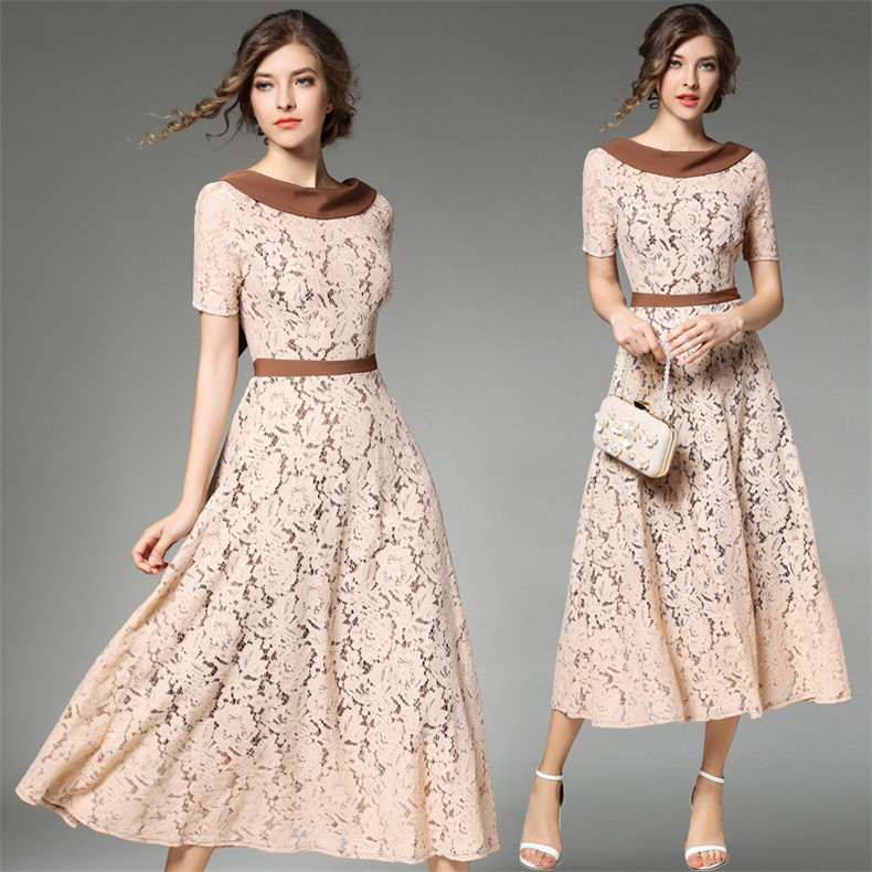 New High Quality Explosions Leisure Vintage color matching Dresses Women lace Spring Casual Dress