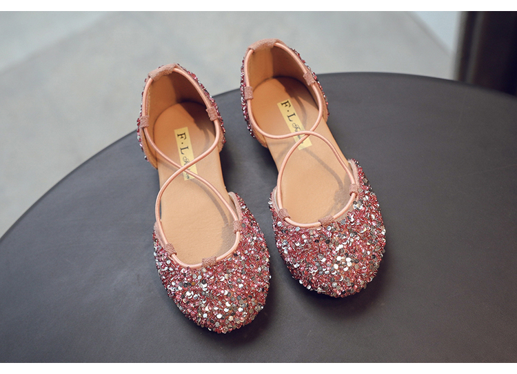 Black Summer Kids Sandals Rhinestone Girls Flats Youth Casual Shoes Size 9