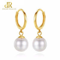 DR 18k Gold Circle Earrings Natural Pearl Drop Earrings for Women 6.5 7mm 18k Yellow Gold Charm Earrings Brand Jewelry