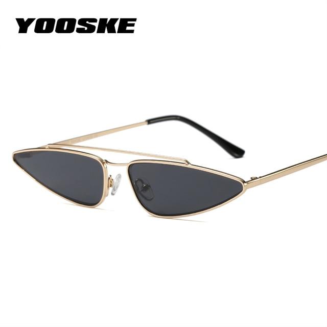 6f2d2114b53b YOOSKE Vintage Small Cat Eye Glasses Women Unique Style Retro Sunglasses  Metal Fashion Catwalk Sun Glasses Anti-UV Goggles