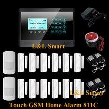 Беспроводной GSM SMS 12 шт. Окна Двери Датчики Главная Авто-dial Охранной Охранной Сигнализации с Сенсорной Клавиатурой панели DIY Kit