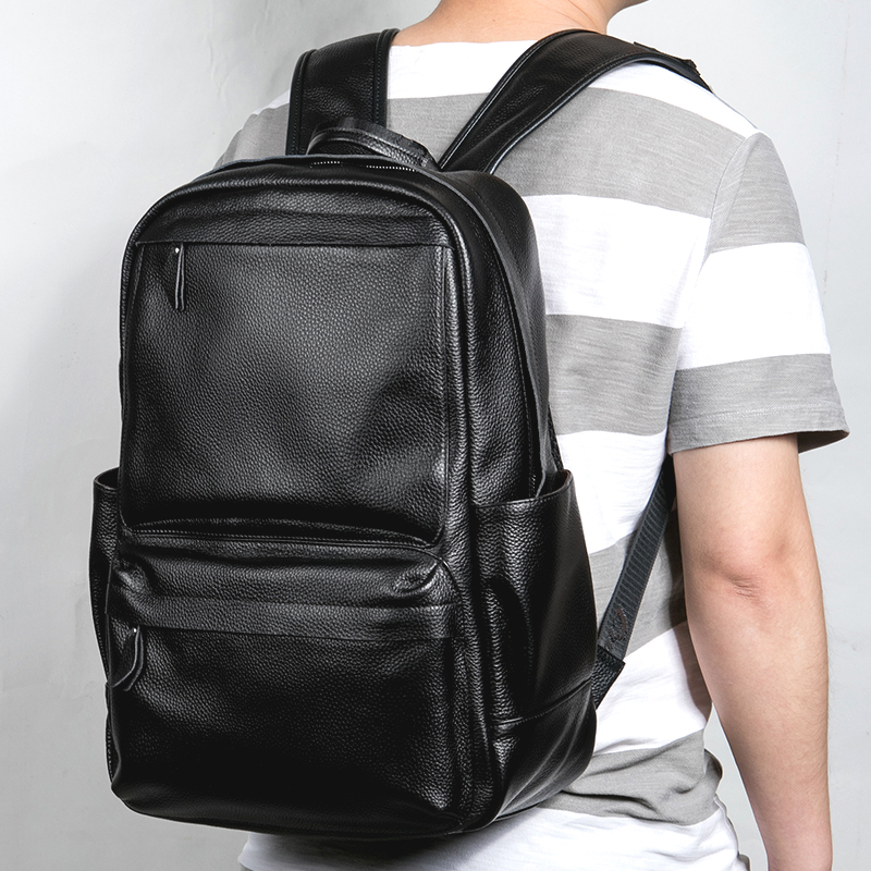 New Large Travel Backpack Teenagers School Book Bag Cowhide Genuine Leather Male Leisure Bag Men 14 Laptop Notebook Backpack men original leather fashion travel university college school book bag designer male backpack daypack student laptop bag 9950
