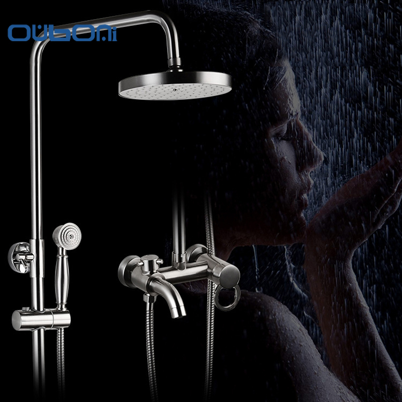 Concise Style Bathroom Shower Faucet Set Nickle Brushed Rain Shower Head Tub Mixer Faucet With Hand Spray Wall Mounted wall mounted adjust sliding bar rain hotel shower faucet single lever 10 rain shower head ultra thins style handshower