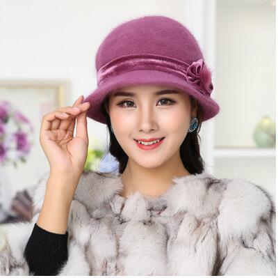 Autumn Winter Fedora Rabbit Fur Hat for Women Fashion Casual Cap Solid Colors Gorros Cap Women's Hats Chapeau Femme Warm hat