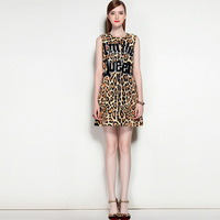 High Quality 2017 New Designer Runway Fashion Leopard Printing Dress O Neck Sleeveless Sequined Letters Party