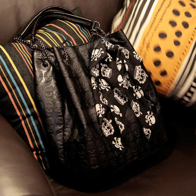 Skull Bag Pu Leather With Silk Scarf
