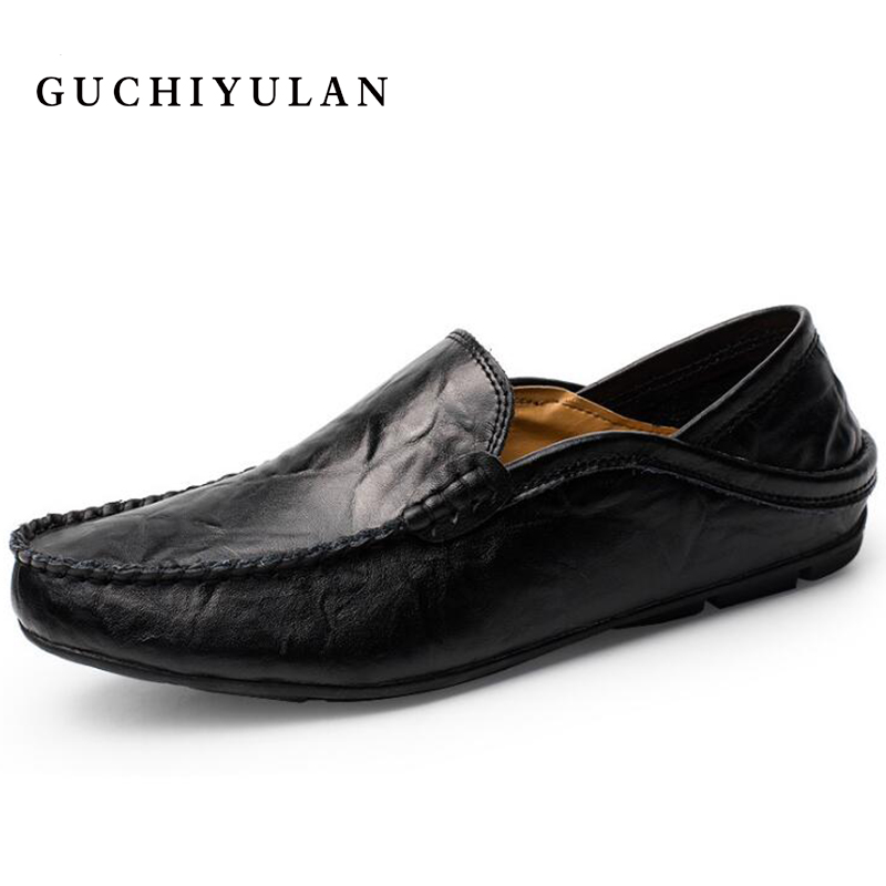 2018 Spring Moccasins Men Slip On Soft Genuine Leather Shoes Men's Comfortable Driving Men Loafers Top Quality Casual shoes handmade genuine leather men s flats casual haap sun brand men loafers comfortable soft driving shoes slip on leather moccasins