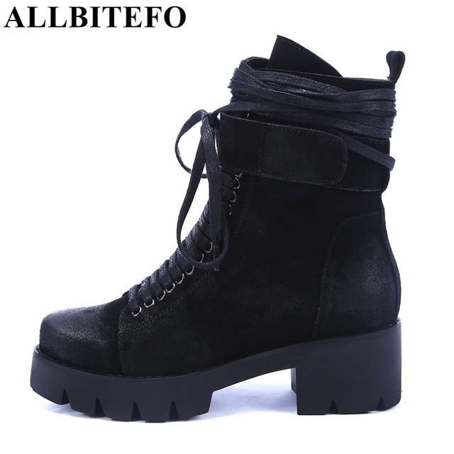 ALLBITEFO Large size High quality buckle Knot thick heel fashion martin  boots genuine leather platform women 0e3e062f5c4a