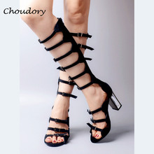 Choudory Chunky High Heels Woman Sandalias Mujer Summer Fashion Rome Style Gladiator Shoes Attractive Party Solid Zapatos Mujer