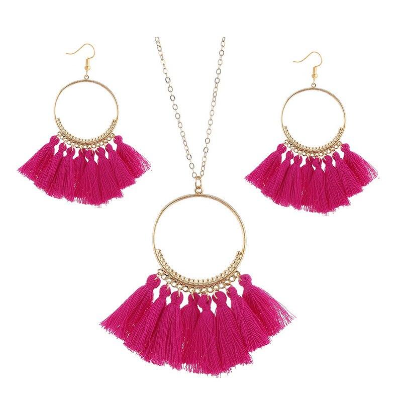cjh027 Christmas Hoops Tassle Tassel Earrings Necklace Set Drop Fringe Necklace Set