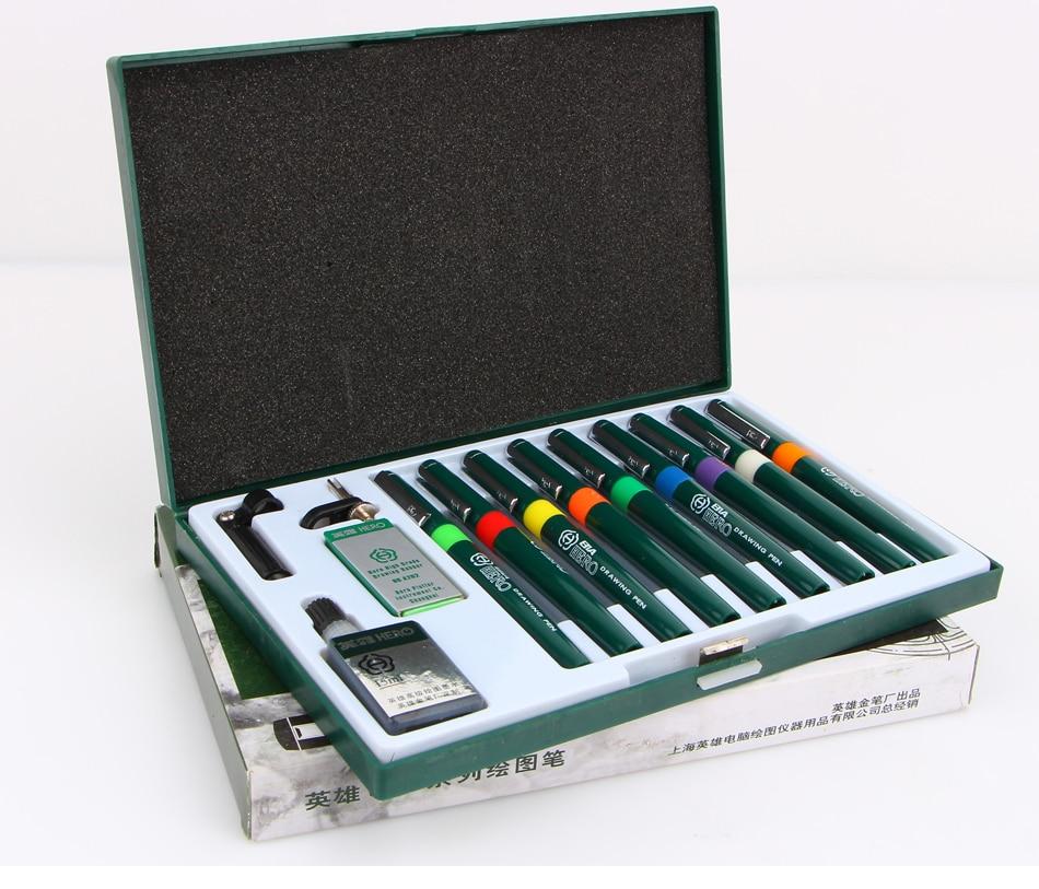 9pcs Needle Technical Pen Hook Line Architectural Design Drawing Repeated Filling Ink Porous-Point Pens Set Art Carton Fineline