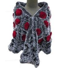 Женщины реальный рекс кролика плащ пальто женский трикотажные полукруг роза пончо леди зима теплые обертывания