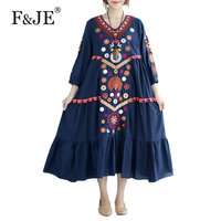 F JE 2017 New Autumn Arts Style Women Loose Casual Long Dress High Quality Cotton Linen
