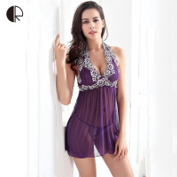 2015 New Women Fashion Sexy Lingerie Underwear Sleepwear Halter Sleeping Dress Nightgown Set T Back Free
