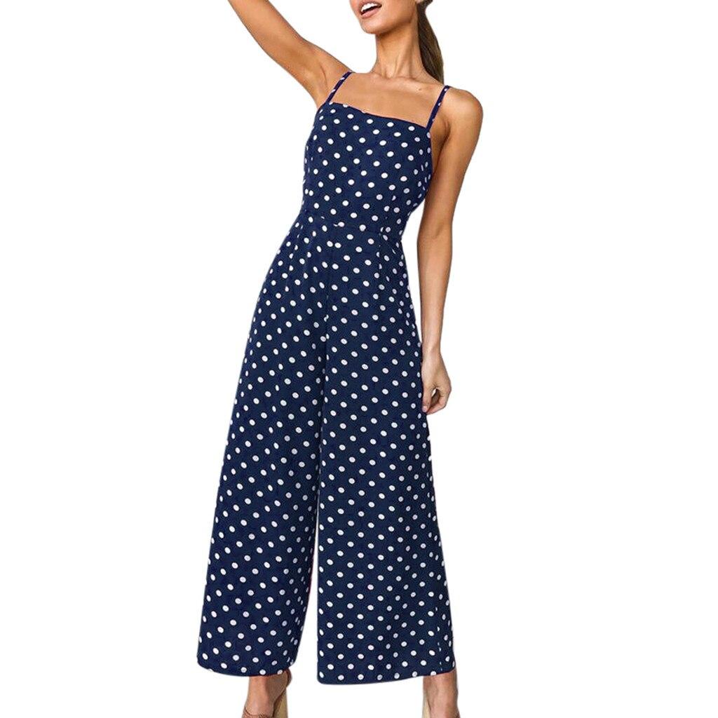Womens Dot Playsuit Wide Leg Pants Long Jumpsuit Monos Largos Mujer Pantalon Largo Sleeveless Backless Spaghetti Strap Playsuit
