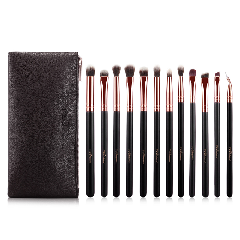 MSQ 12pcs Rose Gold Eye Makeup Brushes Set Pro Eye Shadow Blending Make Up Brush Artificial fiber eye Brush Cosmetic Beauty tool g073 professional makeup brush goat hair ebony handle make up eye shadow smudge brushes cosmetic tool eye shadow blending brush