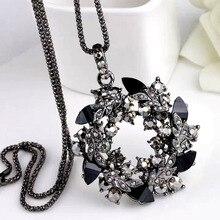 SINLEERY роскошный винтажный черный кубический цирконий цветок кулон длинное ожерелье для женщин Черная Цепочка Змея высокое качество My344 SSB