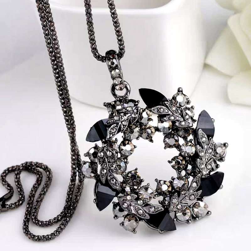 SINLEERY Luxury Vintage Black Cubic Zircon Flower Pendant Long Necklace For Wome