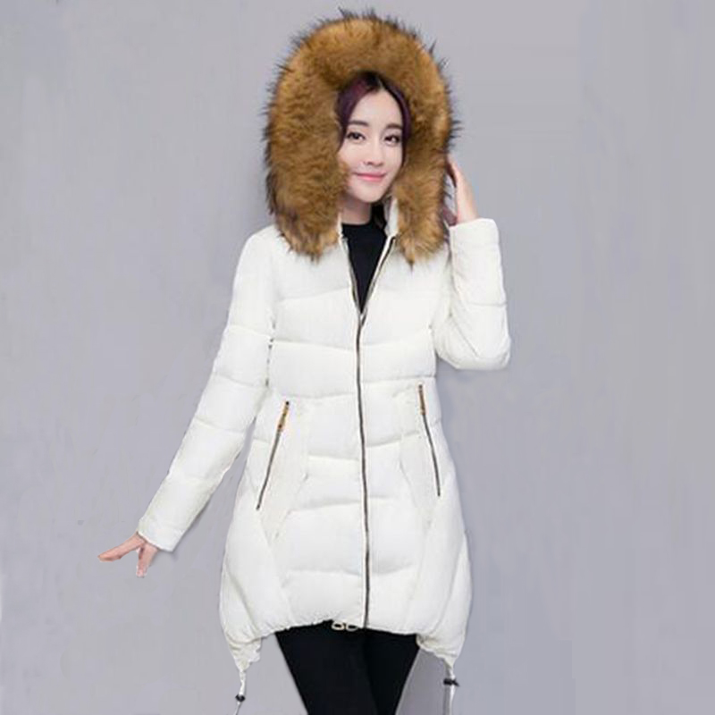 Faux fur Collar Parkas Cotton Jacket 2017 Winter Long Hooded Jacket Women Thick Snow Wear Coat Female Jackets Parkas PW1042 2017 women winter hooded winter coat with fur collar pockets female short jackets cotton padded parkas wadded snow wear yl002