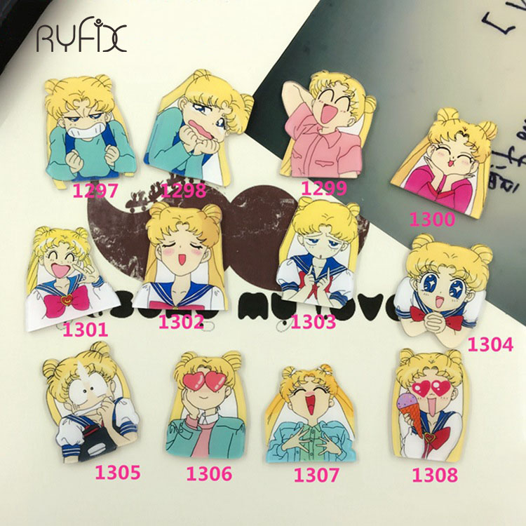 1pcs Cartoon Harajuku Style Kawaii Pretty Soldier Sailor Moon Acrylic Brooch Badges Pin Backpack Clothes Decoration Brooches New Varieties Are Introduced One After Another Apparel Sewing & Fabric