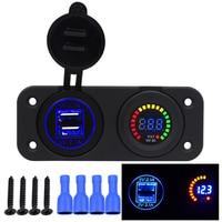 12V 24V 4 2A Car USB Charger Socket Blue LED Display 12V Voltmeter For Car ATV