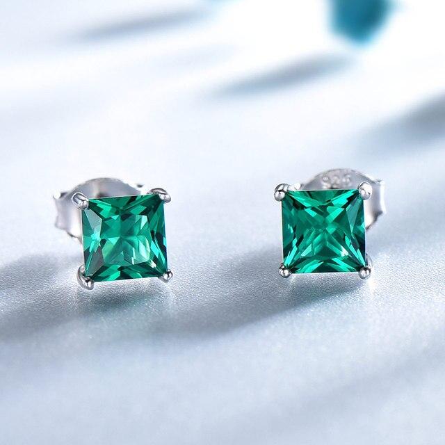 925 Sterling Silver Emerald Stud Earrings for Women 3