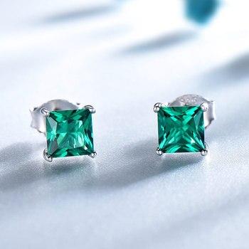 0ad5dd858 UMCHO 100% 925 Sterling Silver Emerald Stud Earrings for Women Princess-cut  Gemstone Birthstone Fashion Korea Earrings Jewelry - Brandsfire.com