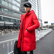 2018 New Long Thick Winter Coat Men Brand Clothing Black Solid Warm Hooded Jacket Male Quality Parkas Jacket Red M-5XL(China)