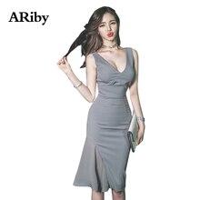 купить Dress Women Bodycon Party Sexy Dress 2019 Summer Fashion Lady Sexy Grey Sleeveless Deep V-collar Chiffon Medium-length Dresses по цене 1464.8 рублей