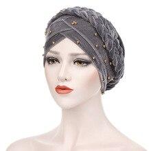 ผู้หญิงมุสลิมยืดBraid Crossกำมะหยี่ลูกปัดBraid Turbanหมวกผ้าพันคอChemo BeanieหมวกHijab Headwear Head Wrapอุปกรณ์เสริม