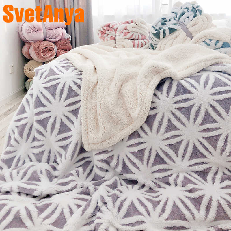 51341bbc7e Svetanya thick Throws Blanket jacquard Sherpa Plaids nap sofa Blankets S M  L size Solid Color