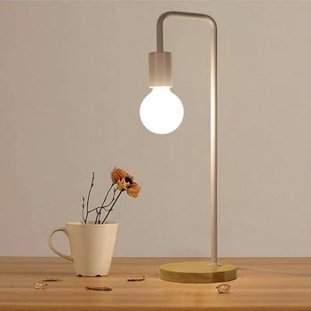 Moderne Led Bureaulamp Houten Basis 220 v E27 Edison Lamp Vintage Bureaulamp Stand voor Slaapkamer Studie Office Multi kleur Tafel Licht