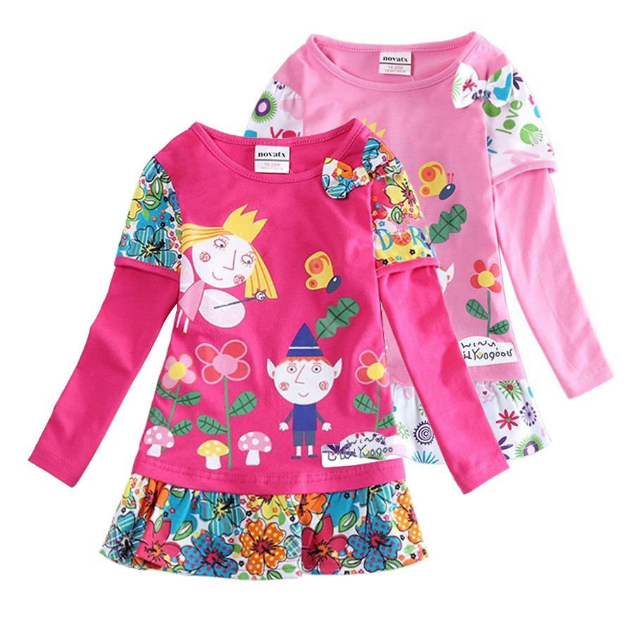 Hot sale girls dresses nova baby kids clothes  ben and holly long sleeve flower vestidos children party casual dress hot sale floral dresses summer baby rose flower pattern dress kids children party dresses girls vestidos 2016 new princess girls