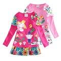 Muchachas calientes de la venta vestidos nova bebé embroma la ropa ben y holly flor de la manga larga vestidos del partido del vestido ocasional