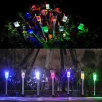 5pcs Outdoor Stainless Steel Solar Power LED Garden Lights Lawn Lamp 7 Color IP44 Waterproof