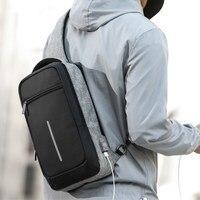 XINCADA New Arrival Sling Bag Crossbody Bags Men Chest Pack Short Trip Messengers Bag Waterproof Shoulder Bag with USB Port