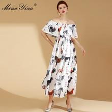 MoaaYina Fashion Designer Runway Dress Summer Women's Sexy off shoulder Cloak Sleeves Animal Print Vacation Party Elegant Dresse все цены